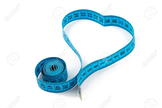 Image blue measuring tape, heart